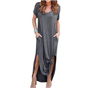 Dresses & Skirts - Dark Gray Loose Fit Side Slit Maxi